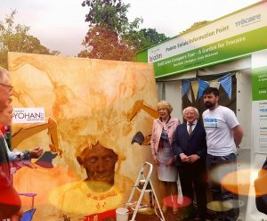 President Michael D Higgins and his wife Sabina at Trocaire garden