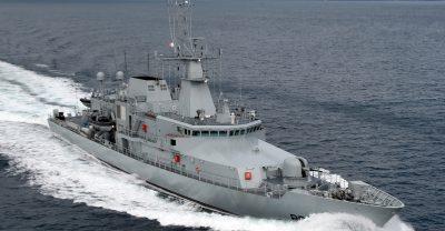 Irish warship at sea