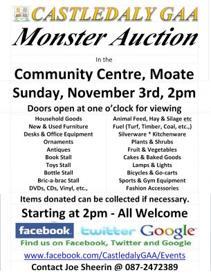 Castledaly GAA Monster Auction @ Community Centre Moate,